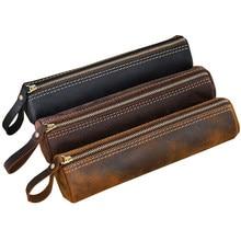 Saco de lápis artesanal de couro genuíno zíper caneta caso estilo retro do vintage escola escritório papelaria saco presente