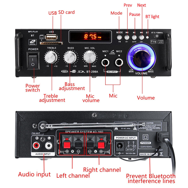 600w Bluetooth Audio Amplifier 5