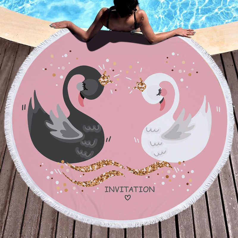 لطيف بجعة منشفة شاطئ مطبوعة نزهة 150 سنتيمتر كبيرة لينة منشفة استحمام الوردي جولة الشاطئ حصيرة في الهواء الطلق منشفة رياضية للأطفال بطانية