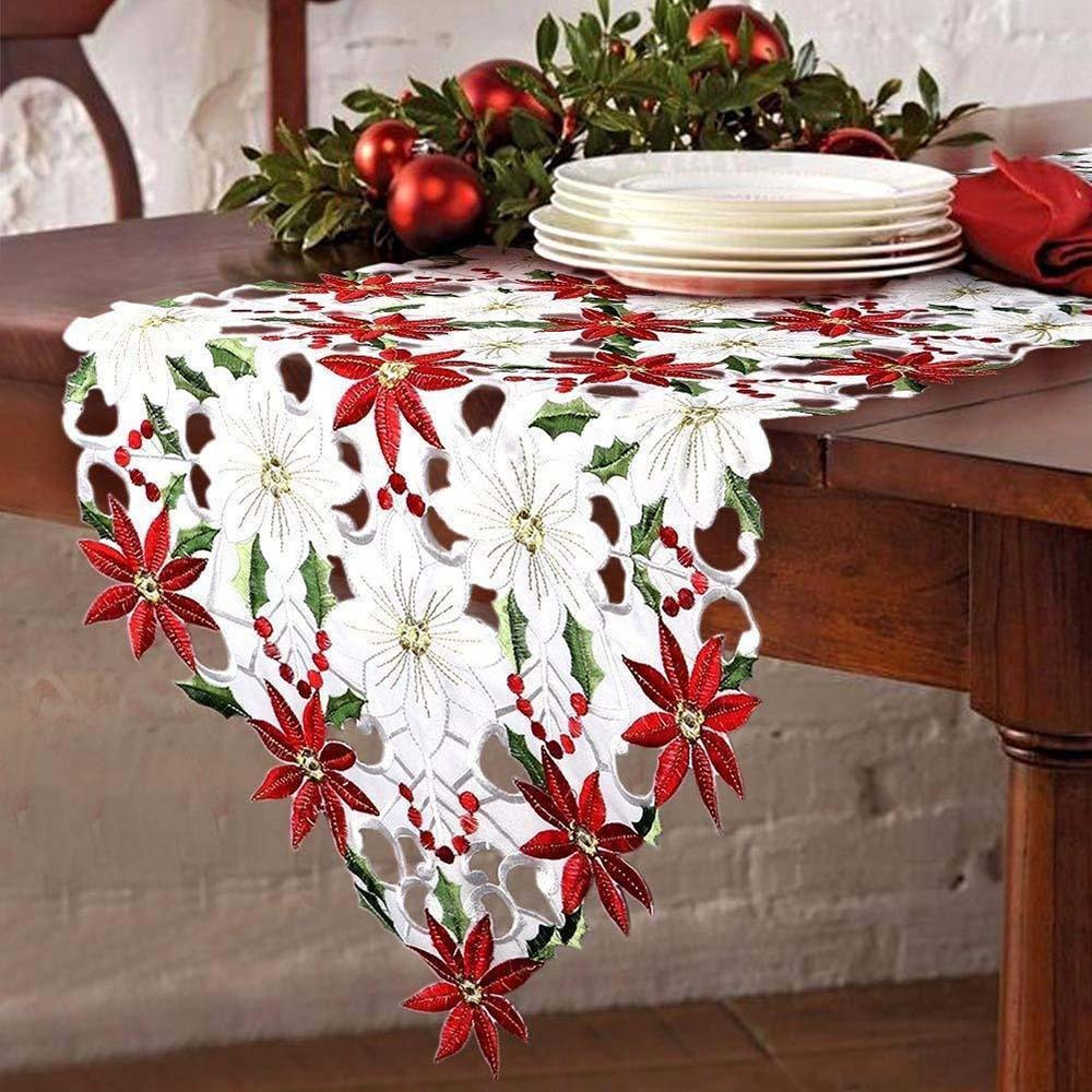 Embroidered Christmas Table Runner Poinsettia Holly Leaf Linens Table Cloth Home Table Decoration Xmas Party Supplie #T2G