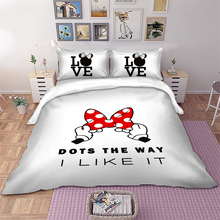Disney Bedding set Bow Love Minnie Duvet Cover Pillowcases Twin Full Queen King Size kids adulte beddings home Textiles 3pcs