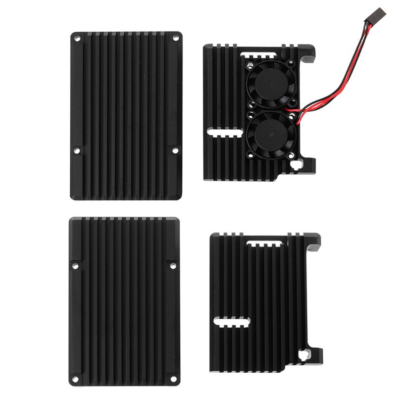 Drop Wholesale Aluminum Alloy Enclosure Case Metal Shell Black Box Radiating Plate Heatsink Cooler For Raspberry Pi 4 Model B
