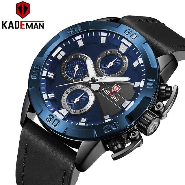 KADEMAN עסקי גברים שעונים למעלה מותג יוקרה עמיד למים קוורץ שעוני יד תאריך אופנה מזדמן הלם עמיד Relogio Masculino