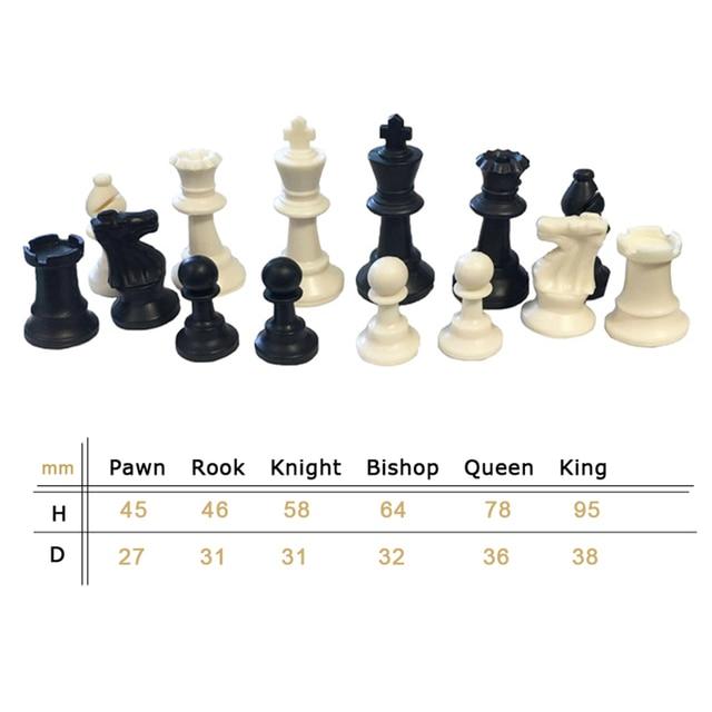 Pièces d'échecs en plastique 32 pièces jeu d'échecs roi hauteur 49/64/75/95mm jeu d'échecs Standard échiquier médiéval pour les jeux de voyage IA13 5