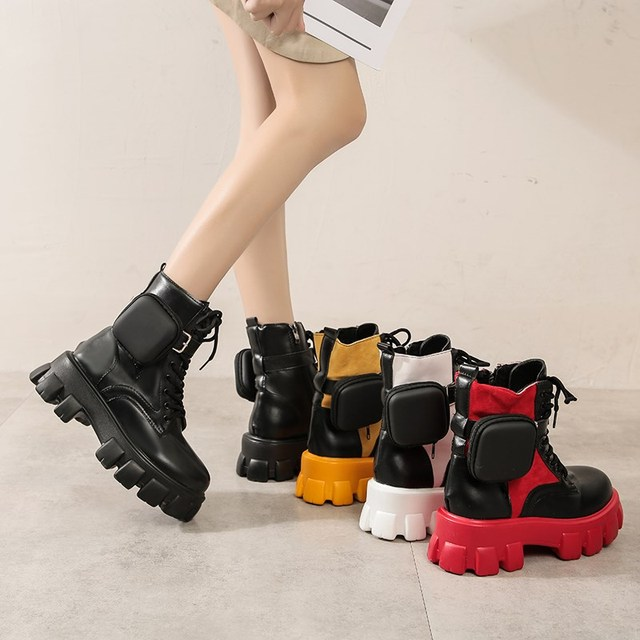 Womens Round Toe Ankle Boots Belt Purse Pocket PU Leather Lace Up Platform Fei34