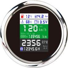 Новый GPS Спидометр 85 мм, тахометр, уровень топлива, температура воды, масло, давление 10 бар, 6 в 1, многофункциональный цифровой датчик с сигнал...