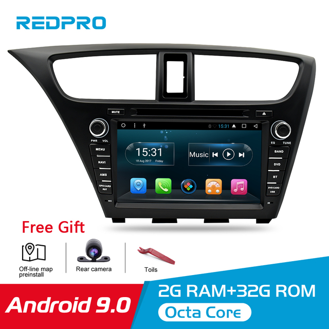 Android 9.0 Car Stereo DVD For Honda Civic Hatchback 2013+ WIFI 2 Din RDS GPS Navigation Bluetooth Audio Video Multimedia
