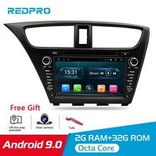 Android 9.0 araba Stereo DVD için Honda Civic Hatchback 2013 + WIFI 2 Din RDS GPS navigasyon Bluetooth ses Video multimedya