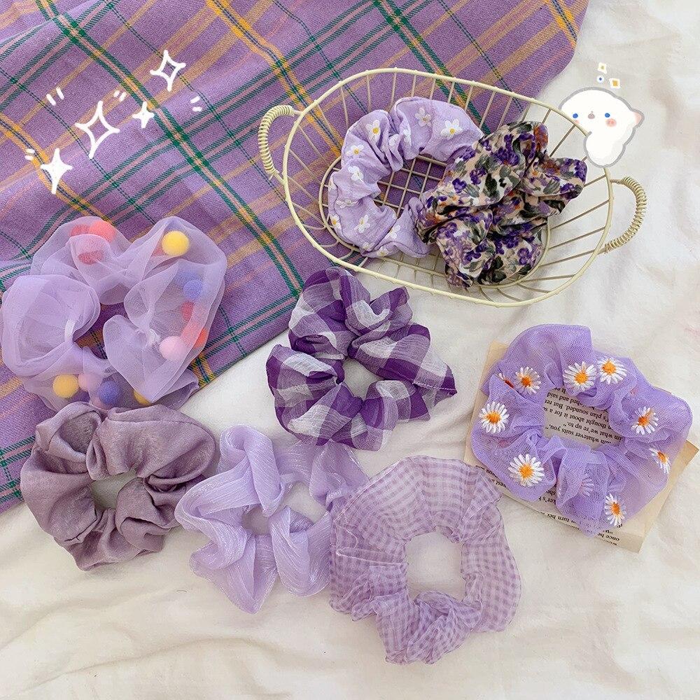 2020 Purple Daisy Flower Women Girls Elastic Hair Rubber Bands Accessories Scrunchies Headwear Hair Tie Ring Rope Holder