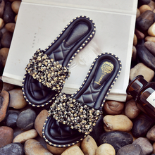 2019 Summer Women Slippers Slides Flats Casual Shoes Woman Fashion Crystal  Beach Slippers Wear Non-slip Luxury Plus Size 35-41 2020 summer cool rhinestones slippers for male gold black loafers half slippers anti slip men casual shoes flats slippers wolf