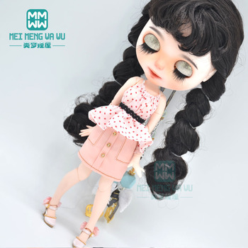 цена на Blyth Doll Clothes fashion polka dot off-the-shoulder shirt, mini skirt, for Blyth Azone OB23 OB24 doll accessories