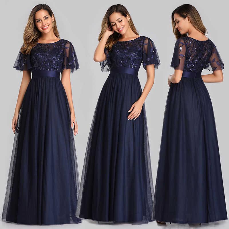 Sparkle Abendkleider Lange Pailletten Königin Abby A-Line Oansatz Kurzarm Tüll Elegante Party Kleider Robe De Soiree 2020