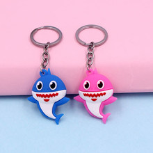 New Pop Cartoon Cute Naughty Shark Baby Keychain Women Girls Students Bag Backpack Keyrings Pendant Children Play Small Gifts(China)