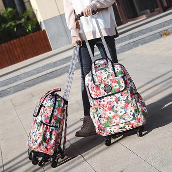 HOT walizka podróżna na kółkach plecaki na kółkach torby damskie torby bagażowe na kółkach wodoodporny Rolling bagaż 18 20 cala walizka tanie i dobre opinie NYLON Spinner 32cm GB271 WOMEN 48cm Bagaż podręczny ons 28cm 48*28*32cm 56*33*35cm
