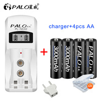 Palo display lcd ni-mh carregador de bateria para aa aaa 9 v 6f22 ni-mh ni-cd baterias recarregáveis carregador de bateria + 4 baterias aa dos pces