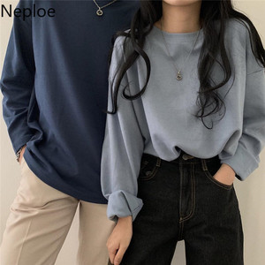 Neploe O Neck Long Sleeve Basic Bottom T Shirt Solid Loose Casual Tees Autumn Spring 2020 New Mutlicolor Ladies Top 48104