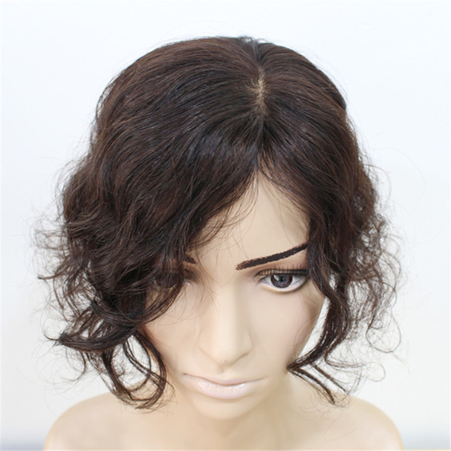 Halo Lady Beauty Clip In Human Hair Bangs Body Wave Fringe Hair Brazilian Remy Toupees Toppers Invisible for Hair Loss