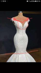 Image 3 - マーメイドウェディングドレスレースアップバックの花嫁衣装とロングトレインショートスリーブブライダルドレス vestido デ noiva
