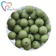 Contas de silicone verde do exército, 10 peças, roupa de dentição, redonda 9-19mm, bolas perles, miçangas, diy, joias de moda hexágono 14-17mm