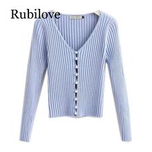 Rubilove 2019 Spring New Stylish Knitting Single Breasted Cardigan Sweater Woman Deep V-neck Long Sleeve Jumper double breasted v neck knitting cardigan