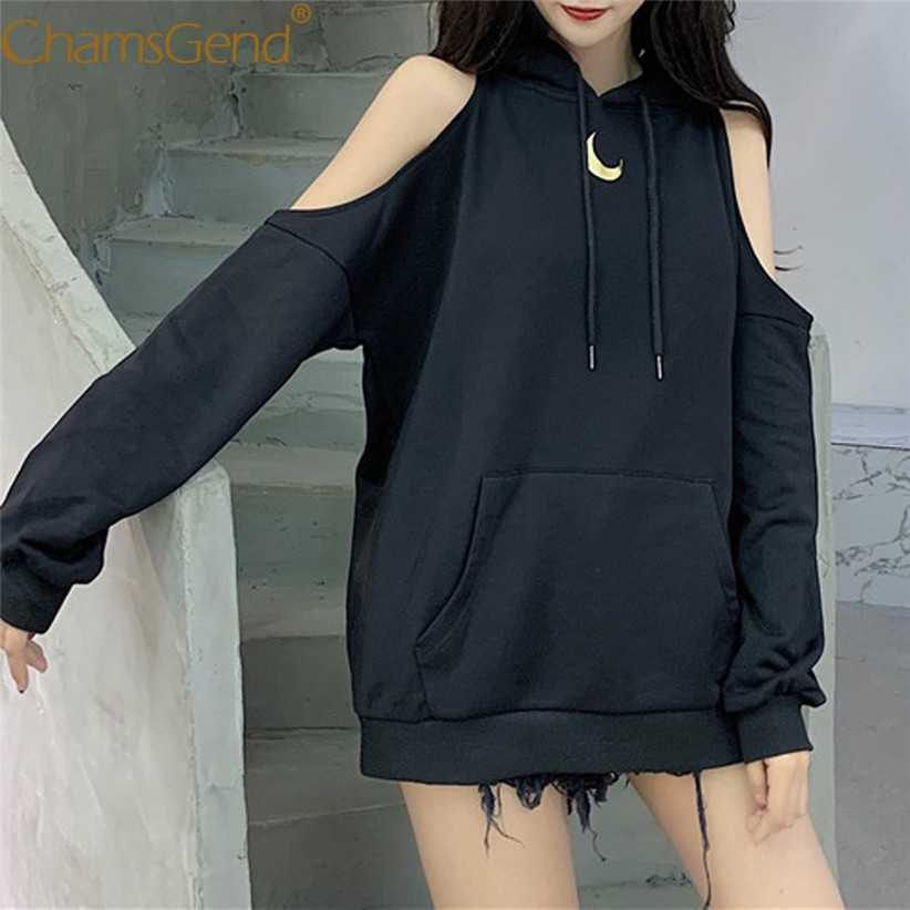 Moon Print Sexy Off Shoulder Long Loose Hoodie Sweatshirt Teenager Woman Girls Hip Hop Streetwear Female Hoodies Tops 910