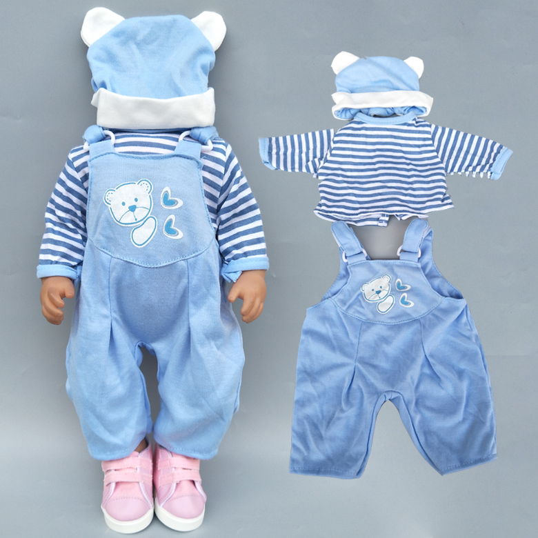 43cm New Born Baby Doll Clothes Rompers For 17 Inch Baby Bona Doll Pants Hat For Toy Wear