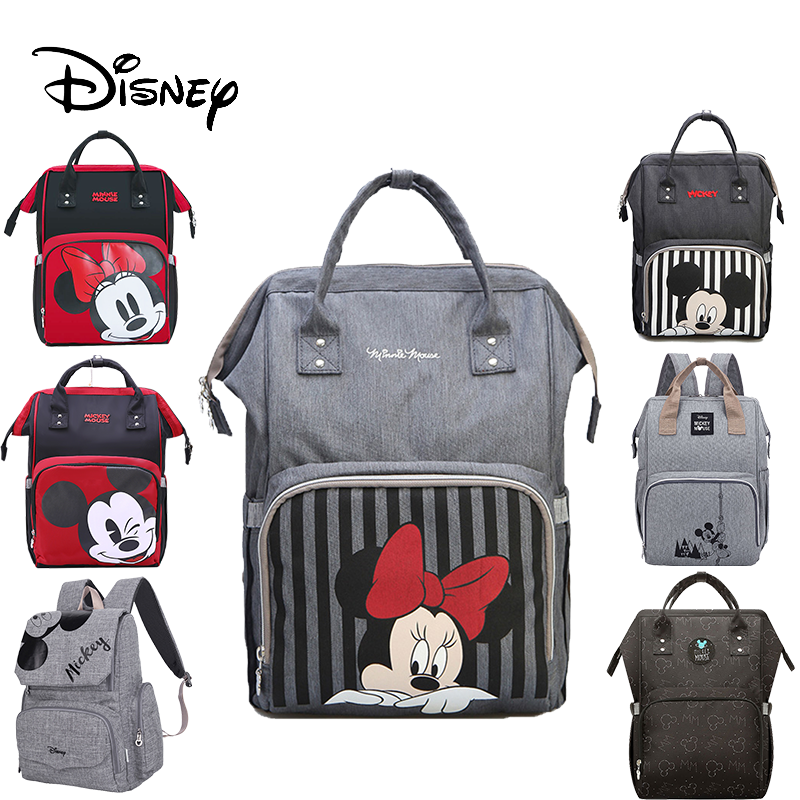 Disney Diaper Bag Backpack Baby Bags for Mom USB Travel Wet Nappy Boy Girl Diaper Organizer Mickey Minnie Pram Wheelchairs