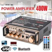 2021 12V/ 220V 2CH LCD Display Digital HIFI Audio Stereo Power Amplifier bluetooth FM Radio Car Home with Remote Control