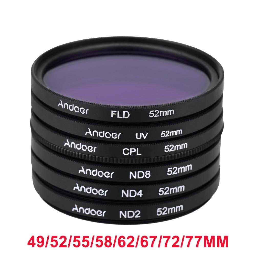 Andoer 52 мм UV + CPL + FLD + ND ( ND2 ND4 ND8 ) фотография фильтр Kit комплект поляризуя нейтральной плотности для Nikon канона сони Pentax DSLRs