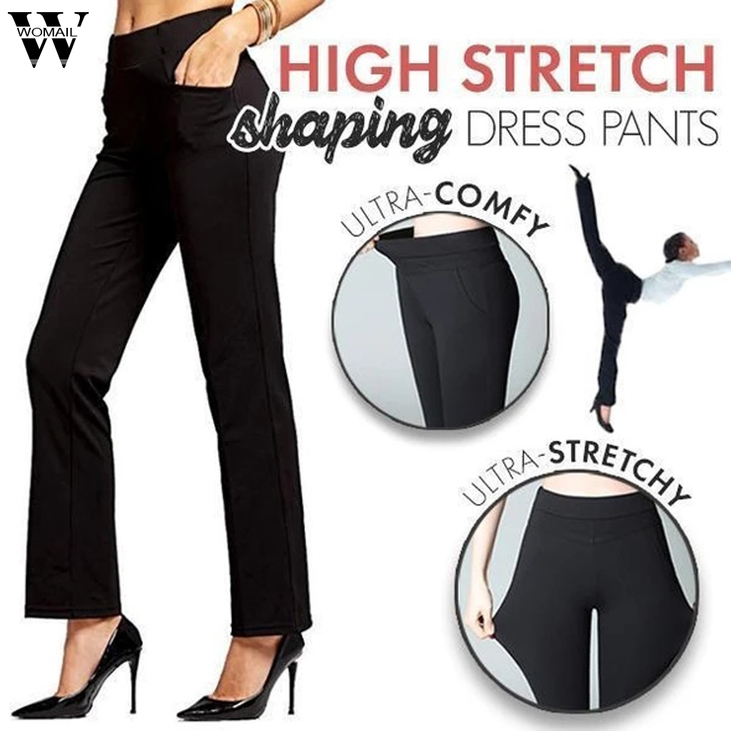Womail High Stretch   Pants   Women   capris   2019 High Waist Flare   Pants   Pocket Solid Casual long   Pants   Fitness Office Shape Sport 814