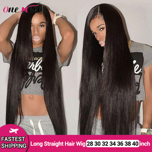 Long Straight Lace Front Wig 28 30 32 34 36 38 40 Inches Lace Front Human Hair Wigs PrePlucked With Baby Hair Remy Brazilian Wig(China)