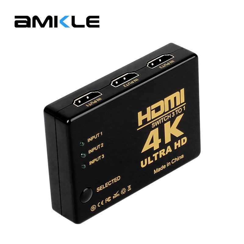 Pergelangan Kaki HDMI Switch 4K * 2K 3D HDMI Splitter Mini 3 Port Switcher 3-In-1 -HDMI Hub untuk DVD HDTV Xbox PS3 PS4 Latptop TV Box