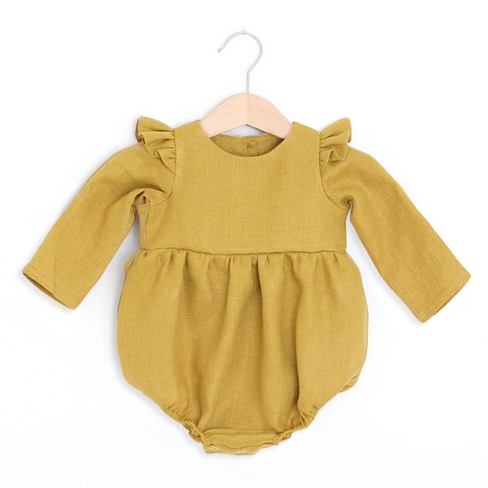 Baby Girl Rompers Solid Color Long Sleeve Baby Clothing Jumpsuits 0-24M 100% Cotton Linen Newborn Baby Girl Clothes | Happy Baby Mama