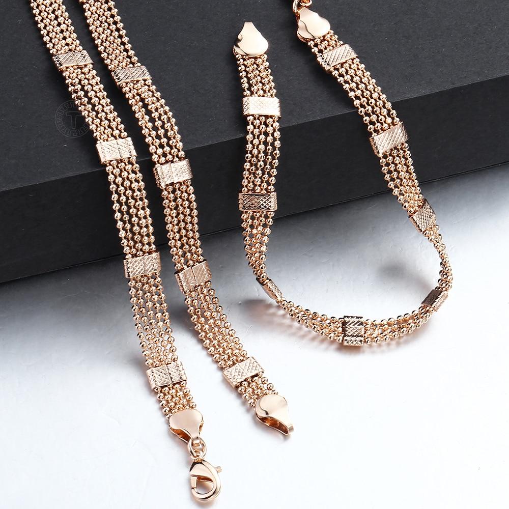 Hommes Femmes Ensemble De Bijoux 585 Or Rose, Bracelet Collier Ensemble Double Gourmette , Tissage Bismark,