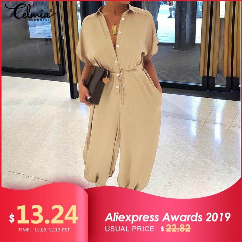 Rompers Women Vintage Jumpsuits 2019 Celmia Female Short Sleeve Cargo Pants Button Casual Loose Harem Trouser Plus Size Overalls