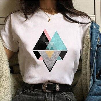Beautiful geometry printed t shirt women 90s Graphic T-shirt Harajuku Tops Tee Cute Short Sleeve animal tshirt Female Tshirts 13