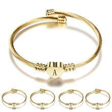 HIYONG Gold Color Steel Color Stainless Steel Heart Shaped A-Z Letter Bracelet Bangle for Women Dropshipping classic heart letter a bracelet for women