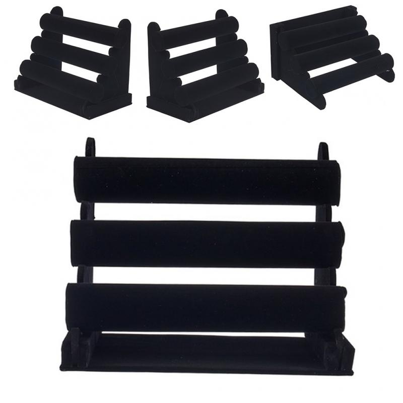 Three-layer Black Velvet Display Stand Simple Multilayer Bracelet Necklace Earring Display Stand Jewelry Showing Holder