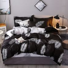 4Pcs/Set Bedding Set Bed Set 19 Style Household Products Aloe Cotton Leaves Plaid Modern Bed Sheet Pillowcase & Duvet Cover modern style leaves ink painting pattern square shape pillowcase
