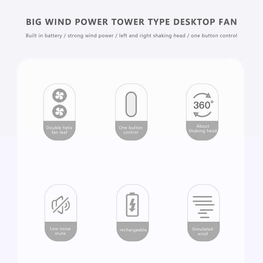 Otomatik sallayarak küçük Fan masaüstü Usb şarj edilebilir ev çift kafa taşınabilir çok fonksiyonlu Mini Fan yaz serin