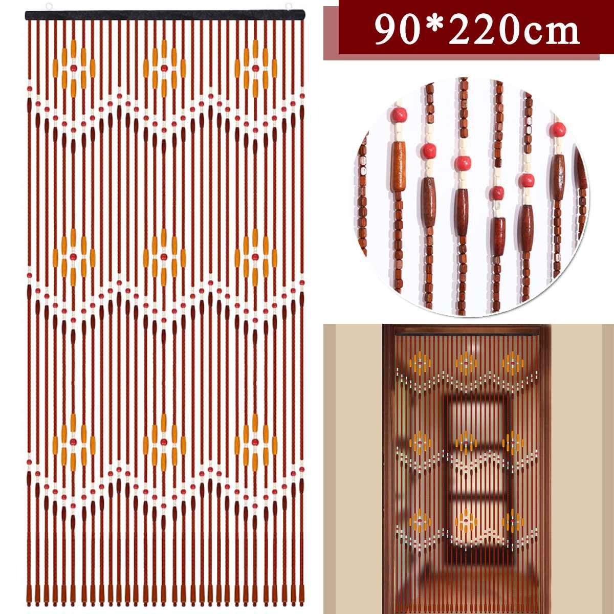 Handmade Wooden Blinds 90x220cm 31 Line Wooden Bead Curtains Fly Screen Gate Divider Sheer For Hallway Living Room Door Window