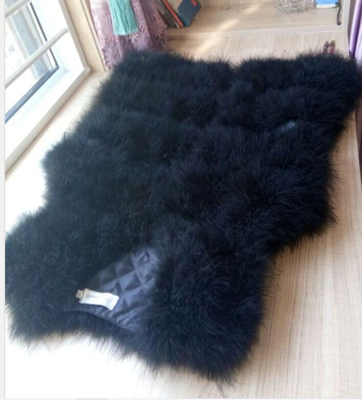 Новая мода женский зимний шифрование натуральные перья страуса индейка перо меховой жилет шуба горячая распродажа - Цвет: black