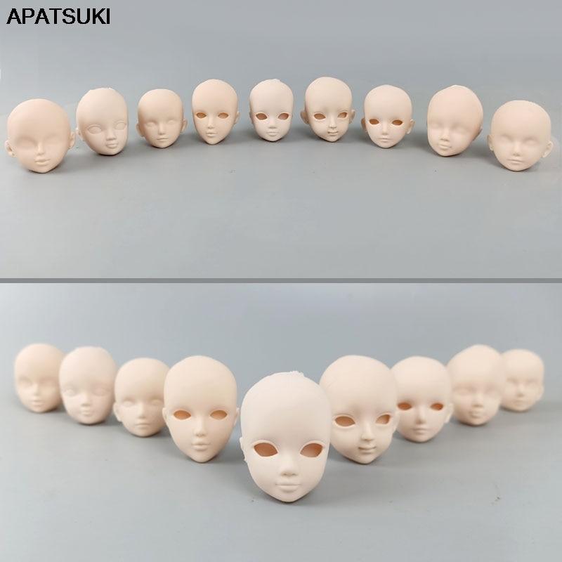 9pcs/lot Soft Plastic Practice Makeup DIY Doll Head For 11.5