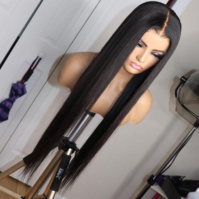 Rosabeauty Long glueless 13x4 Lace Front Human Hair Wigs pre plucked Brazilian Straight Frontal Wig 1