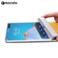 Protector de pantalla para Huawei P40 Pro, vidrio templado curvo UV para Mate 30 20 Pro, líquido pegado