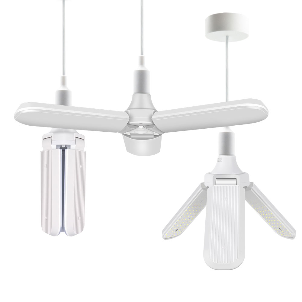60W E27 Super Bright LED Bulb Foldable Ceiling Lamp Fan Blade Angle Adjustable LED Pendant Lights Home Energy Saving Lights in Ceiling Lights from Lights Lighting