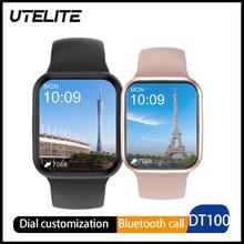 UTELITE IWO DT100/DT100M akıllı saat 1.75 inç kare ekran Bluetooth çağrı erkekler kadınlar için IP68 su geçirmez uzun bekleme izle DT95