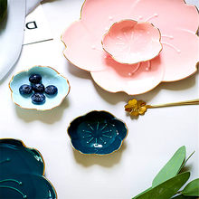 Creative Japanese Style Cherry Blossom Ceramic Dish Multipurpose Vinegar/Salad Soy Sauce/Wasabi Saucing Plate Kitchen Tableware(China)