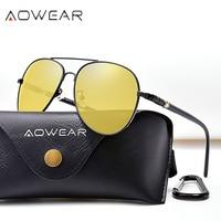 AOWEAR HD Nachtsicht Brille Mann Polarisierte Gelb Nacht Fahr Luftfahrt Sonnenbrille Marke Designer Auto Fahrer Brille Brillen