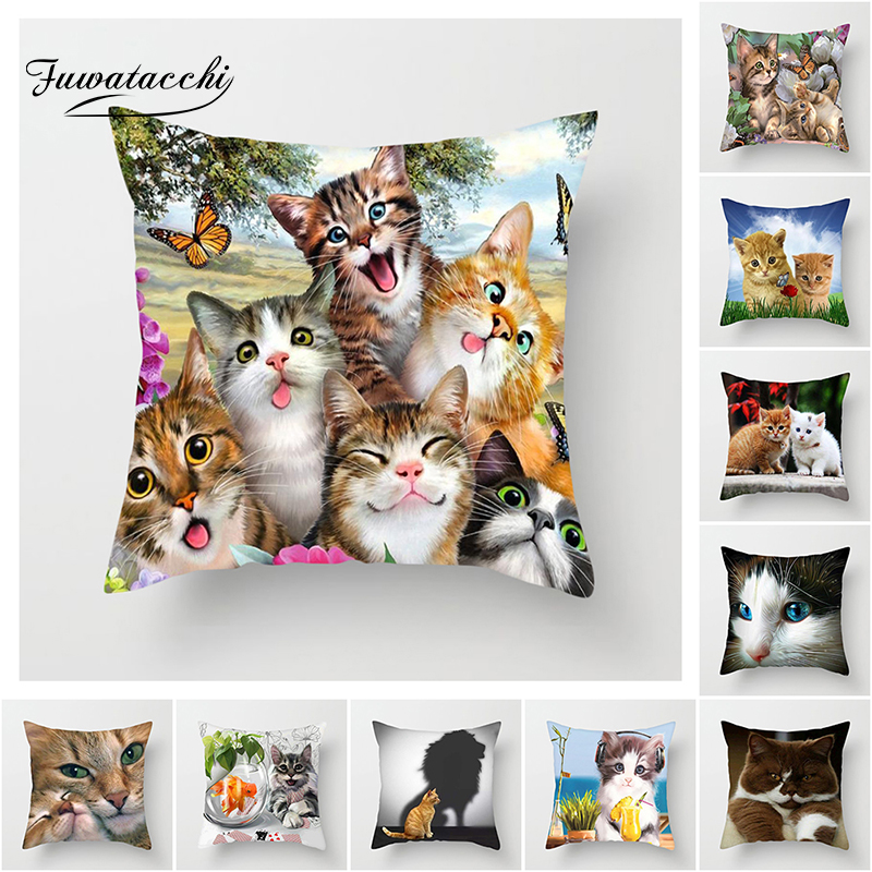 Fuwatacchi Cute Cat Cushion Cover Cat And Butterfly Pillow Cover For Sofa Home Chair Animals Throw Decorative Pillows 45*45cm
